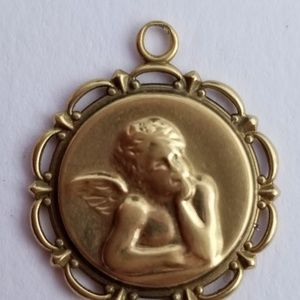 10k Yellow Gold Cherub Angel Pendant